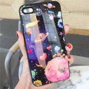 Tempered Glass Phone Cases For Apple Iphone 7 , 8 Plus , X , 6s 6 Plus Stars Design Tempered Glass Cell Phone Case Covers Funda