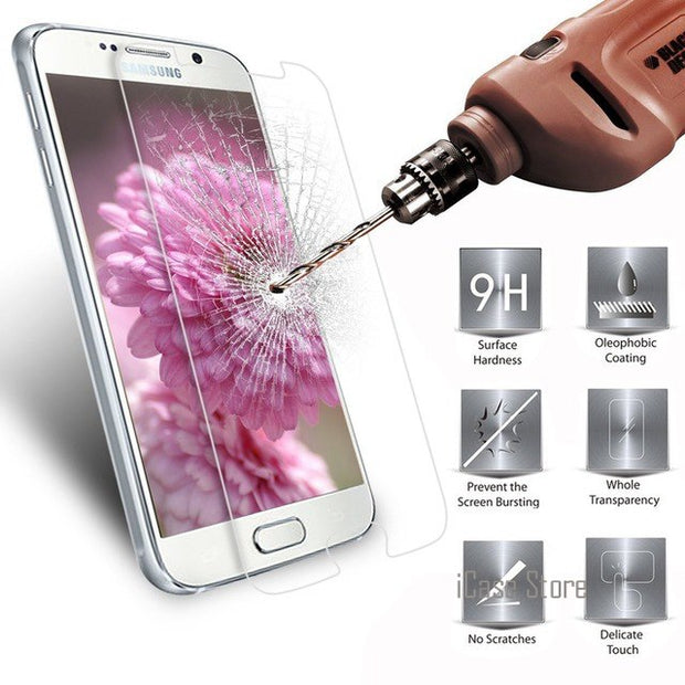 Tempered Glass For Samsung Galaxy S3 S4 S5 Mini S6 J1 Ace Mini Neo Duos J2 J3 J5 J7 PRO 2016 C7 Note 2 3 4 5 Protector Film Case