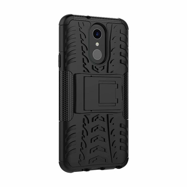Tire Pattern Slim Armor Kickstand 2 In 1 PC TPU Shockproof Back Cover Case For LG G7 Heavy Duty Cell Phone Case For LG Q7