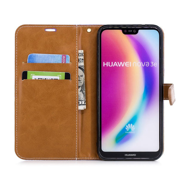 TopArmor 2018 New Phone Case Denim+PU Cover For Huawei P20 Lite Bags Flip Stent Wallet Shell For Huawei Nova 3e Case Skin Coque