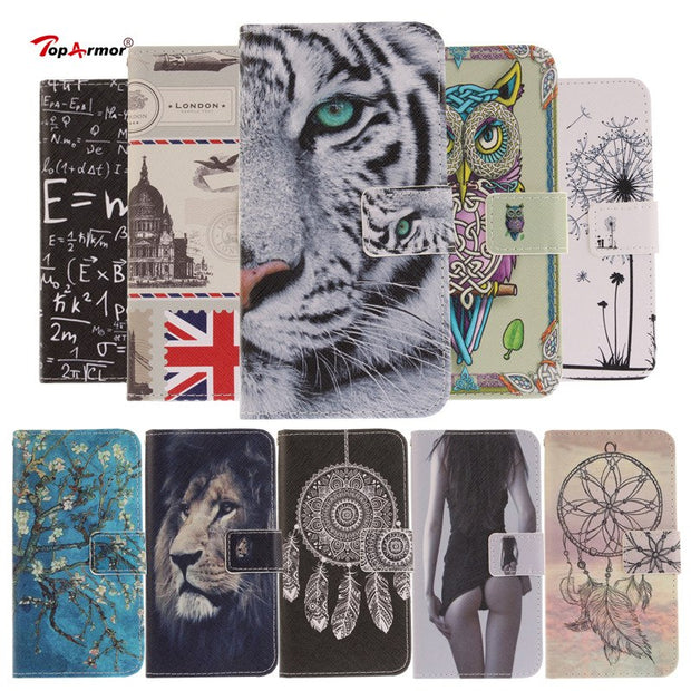 "TopArmor Case PU Leather Flip Painted Cover For LG X Power 5.3"" Card Slots Stent Wallet Shell For LG X Power Phone Case Coque"