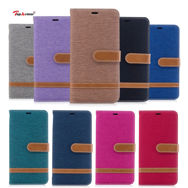 TopArmor Case Denim+PU Cover For Sony Xperia XA1 5.0 Inch Bags Cover Flip Stent Wallet Shell For Sony Xperia XA1 Phone Case Capa