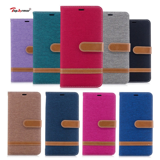 TopArmor Case Denim+PU Cover For Sony Xperia XA1 Plus Bags Cover Flip Wallet Shell For Sony Xperia XA1 Plus Phone Case Coque