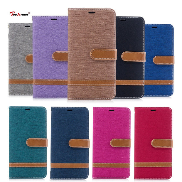 TopArmor Case Denim+PU Cover For Sony Xperia XZ1 5.2 Inch Bags Cover Flip Stent Wallet Shell For Sony Xperia XZ1 Phone Case Capa