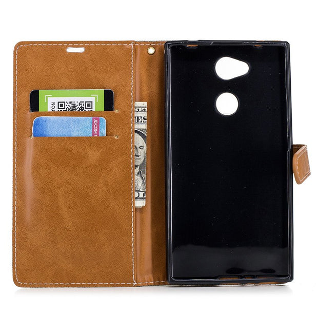 TopArmor Cover For Sony Xperia L2 Case Denim+PU Cover Card Slots Flip Wallet Shell For Sony Xperia L2 5.5 Inch Phone Case Bags