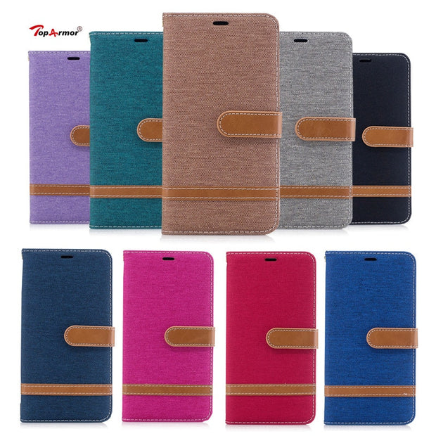 TopArmor Phone Case For LG G6 Denim+PU Cover For LG G6 5.7 Inch Bags Cover Flip Stent Wallet Shell For LG G6 Phone Case Coque