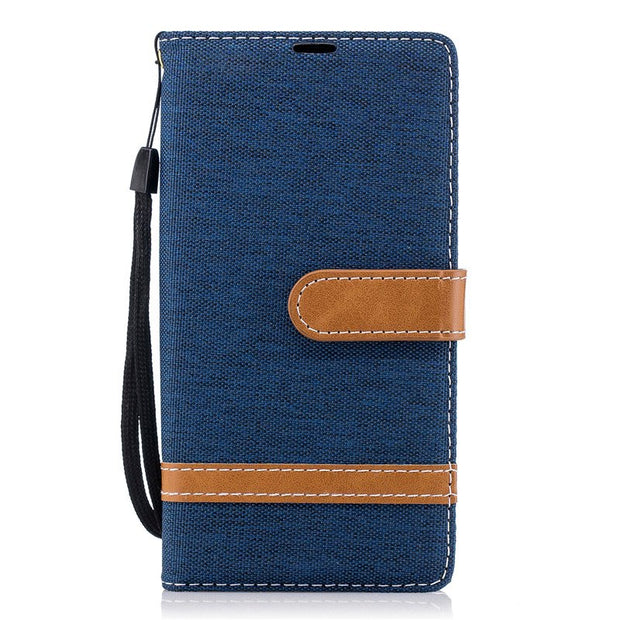 TopArmor Denim+PU Case Cover For Sony Xperia XA2 Cover Card Slots Flip Wallet Shell For Sony Xperia XA2 5.2 Inch Phone Case Bags