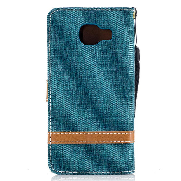 TopArmor Denim+PU Cover For Samsung Galaxy A3 A5 (2016) A310 A510 Cover Flip Stent Wallet Shell For Samsung A310 A510 Phone Case