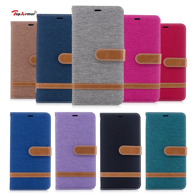 TopArmor Denim+PU Cover For Samsung Galaxy J3 J5 (2017) J330 J530 European Version Bags Flip Stent Wallet Shell Phone Case Coque