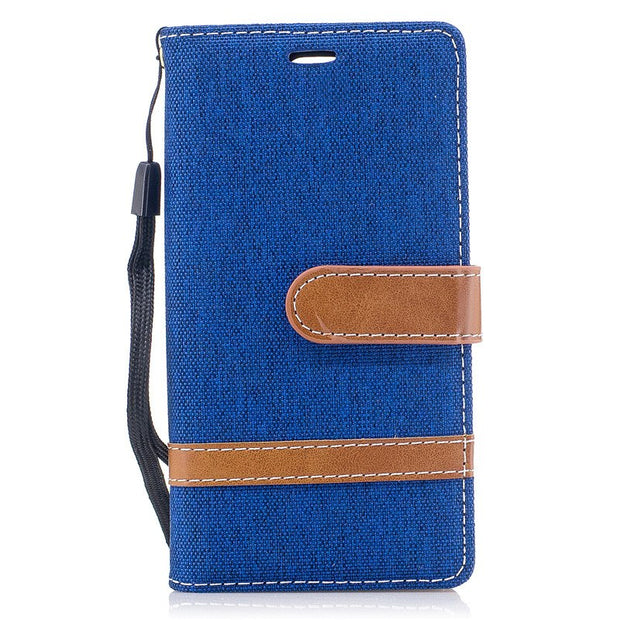 TopArmor Denim+PU Cover For Sony Xperia XZ1 Compact Bags Flip Stent Wallet Shell For Sony Xperia XZ1 Compact Phone Case Coque