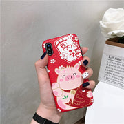 Unisex Fashion Cute Animal Back Cover Phone Case Red Pink, Multicolor Phone Protective Cover