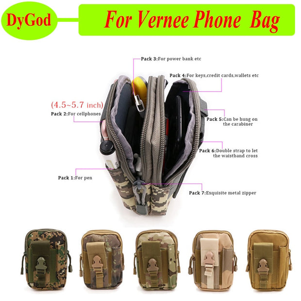 Universal Outdoor Sport Bag For Vernee V2 Pro Apollo Lite M5 Case Military Waist Belt Wallet Pouch Purse For Vernee Thor Plus