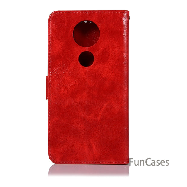 Vintage Leather TPU Phone Case For Coque Motorola Moto E5 Plus Fundas Cover Stand Card Holder Kryty Celular Case Shell For Moto