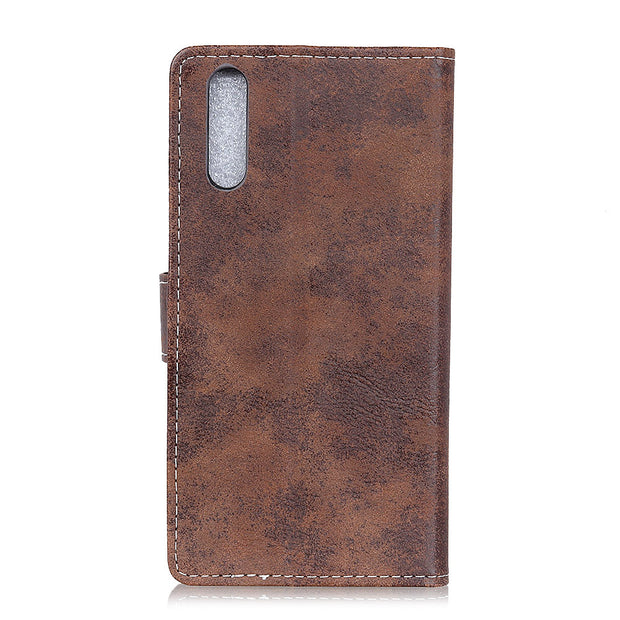 Vintage Retro Matte PU Leather Flip Cover Stand Case For Sony Xperia L3 Magnetic Snap Wallet Card Money Slots Case For Sony L3