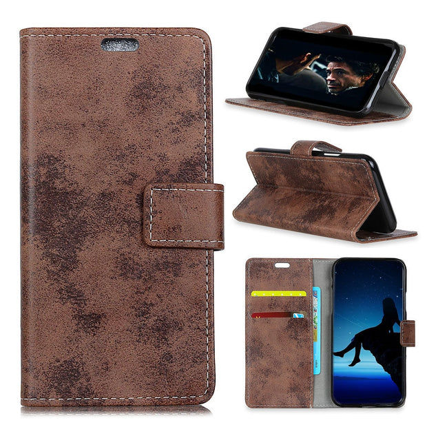 Vintage Retro Matte PU Leather Magnetic Snap Flip Cover Stand Wallet Card Money Slots Case For Motorola MOTO P40