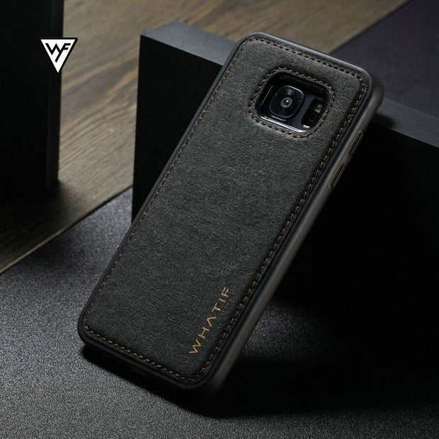 WHATIF Case For Galaxy S7 Edge S7 Fashion Leather Case For Samsung Galaxy S8 Plus Note 8 S7 Edge Luxury Shell Phone Bag Cover