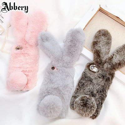 Winter Warm Fluffy Fur Cute Rabbit Doll Plush Coque Phone Case For Oppo F7 Bunny Soft Shell Cover For Oppo F5 Lite F3 F1s Neo 9