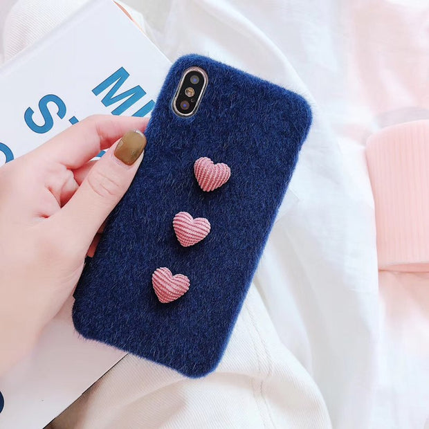 Winter Warm Plush Love Heart Phone Cases For IPhone 6 6S 7 8 Plus Cover Furry Fur Soft Back Cover Case For IPhoneXs Xr Xsmax