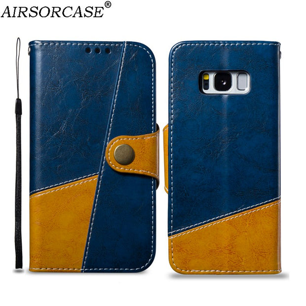 With Lanyard Stitching Phone Bags Cases For Samsung Galaxy S8 G950F Case S8+ S8 Plus G955F Leather Case Kickstand TPU Back Cover