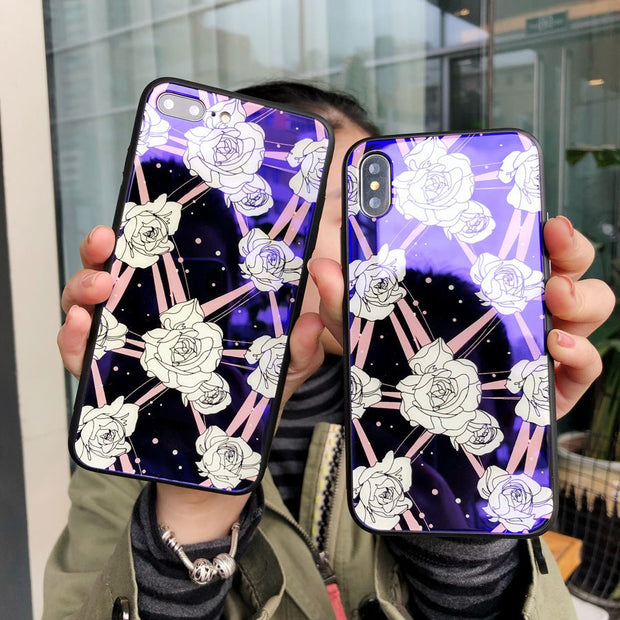 Women Fashion Flora Pattern Phone Laser Cases With Blue Ray Light For IPhone X 8 6 6s 7 Plus Tempered Glass+Soft TPU Cover Capa