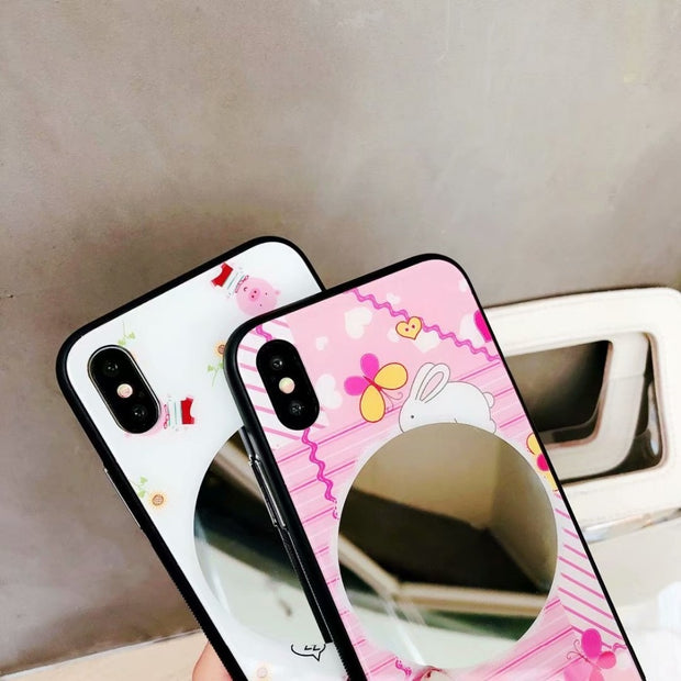 Women Fashion Phone Cases With Mirror Cell Phone Shell For IPhone X 8 Plus 6 7 Plus Glass+Soft TPU Back Cover Protective Case