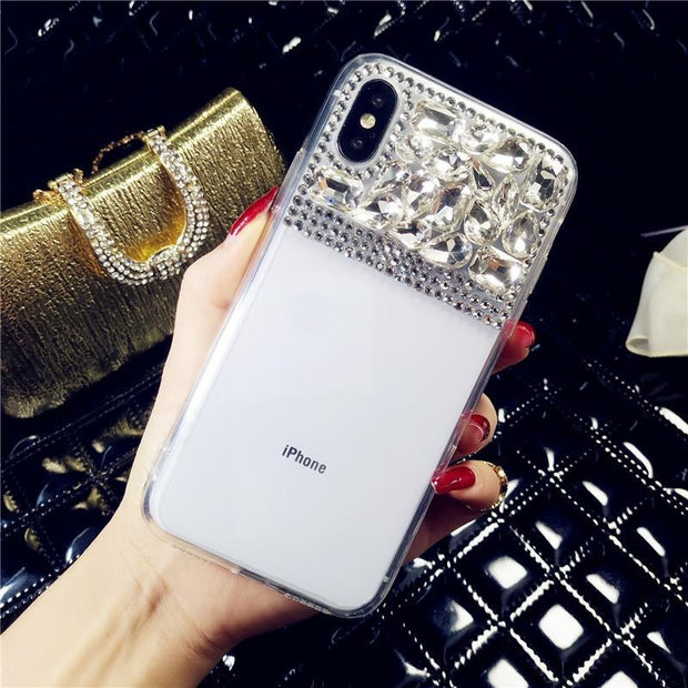 XSMYiss For Samsung S4 S5 S6 S7 Edge S8 S9 Plus Note 3 4 5 Luxury Bling Color Rhinestone Diamond Transparent Soft TPU Phone Case