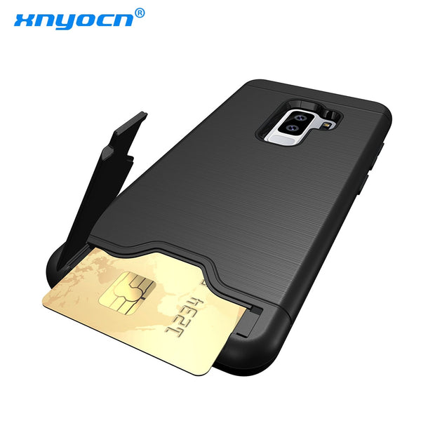 Xnyocn New Hybrid Tough Case For Samsung Galaxy S9 Case Luxury Slider Card Holder Wallet Armor Cover For Samsung GalaxyS9 Cover