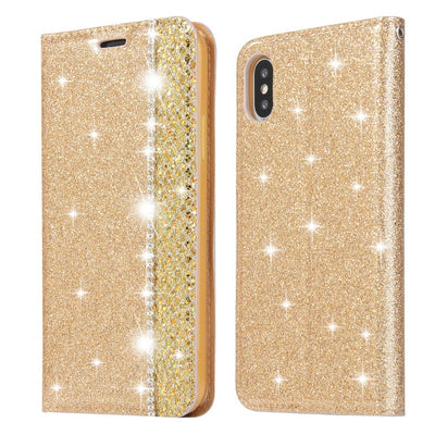 YISHANGOU Flip Wallet PU Leather Case For IPhone XS Max 6 6S Plus Bling Glitter Card Holder Stand Cover For IPhone X XR 7 8 Plus
