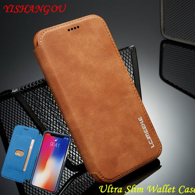 YISHANGOU Flip Wallet Phone Case For IPhone XS Max XR X Slim PU Leather Card Slots Stand Cover For IPhone X 6 6S 7 8 Plus Purse