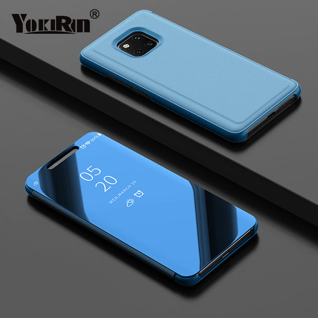 YOKIRIN Clear View Smart Mirror Phone Case For Huawei Mate 20 Pro Flip Stand Leather Phone Cover Coque For Huawei Mate 20 Pro