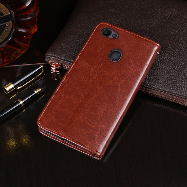 YeLun Leather Case For OPPO F7 Case Luxury Crazy Horse Pattern Wallet Flip Case For OPPO F7 Card Holder Cover