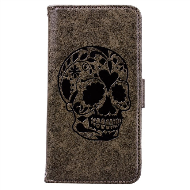 Yokata Skull Flip Case For Samsung Galaxy S6 S6 Edge Case Leather For Wallet Blue Coque For Samsung S6 Edge Leather Cases