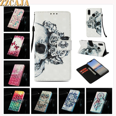 ZZCAJA Bag For Huawei Nova 3i Case New Luxury 3D View Cute OWL Skull PU Leather Wallet Flip Cover For Huawei P Samart + Fundas