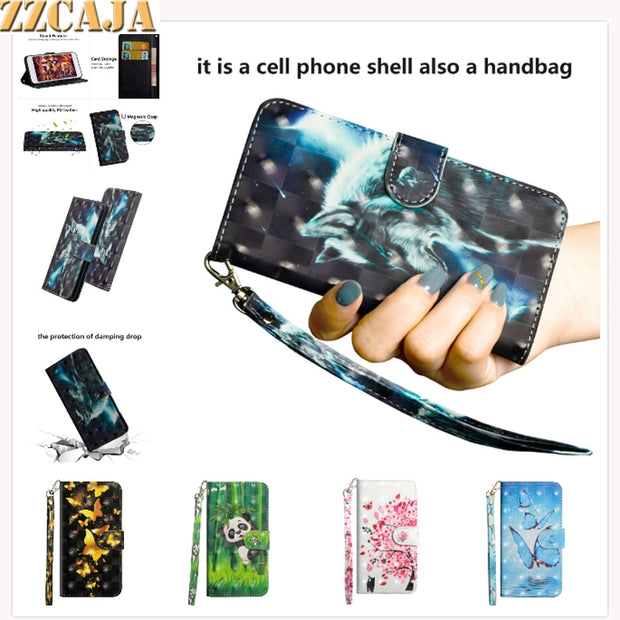 ZZCAJA For Huawei Nova 3i Case Luxury 3D View Cute Animal Panda Tiger Flower PU Leather Wallet Flip Cover For P Smart + Fundas