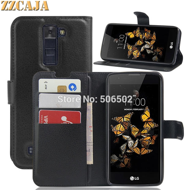 ZZCAJA For LG K8 Case Luxury Wallet Style Flip Stand PU Leather Cell Phone Cover For LG K5 X5 X Power X Screen X Stylus 2 X Skin