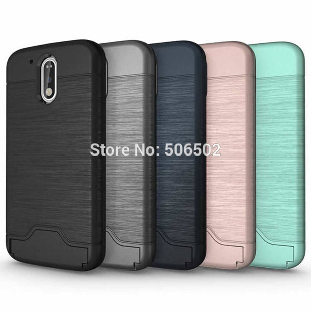 ZZCAJA For Motorola G4 Case New Design Shockproof KickStand Card Slot Protective Phone Cover For Motorola Moto G4 Plus