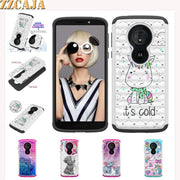 ZZCAJA For Motorola G6 E5 Z3 Play Case Hybrid Shockproof Cute Bling Diamond Rhinestone Dual Layer Cover For Moto E5 Cruise Shell