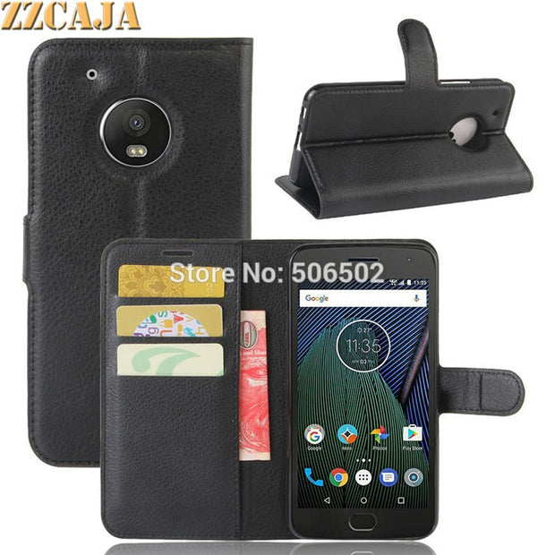 ZZCAJA For Motorola Moto G5 Case Luxury Wallet Style With Card Slot Flip Stand PU Leather Cell Phone Cover For Moto G5 Plus