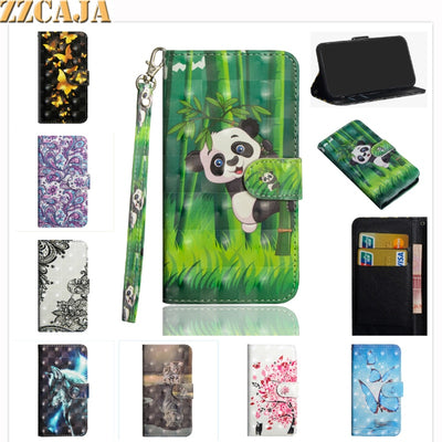 ZZCAJA For Motorola One Power Case Cute 3D View Cartoon Panda Wolf Flower OWL Eather Bag Wallet Flip Cover For Moto E5 Play GO