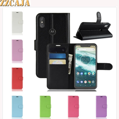 ZZCAJA For Motorola One Power Case Luxury Wallet Style With Card Slot Flip Stand PU Leather Cell Phone Cover For Moto P30 Note