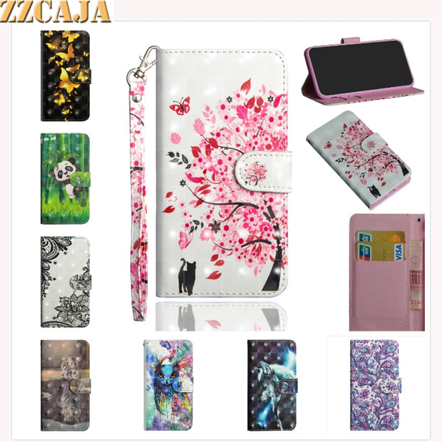 ZZCAJA For Motorola P30 Play Case Cute 3D View Cartoon Panda Wolf Flower OWL Leather Wallet Flip Cover For Motorola One Fundas