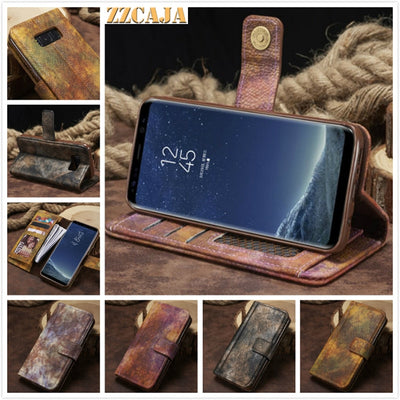 ZZCAJA For Samsung Galaxy S8 Plus Case Luxury Retro Forest Wallet Card Slot Photo Frame Stand Leather Cover For Galaxy S7 Edge