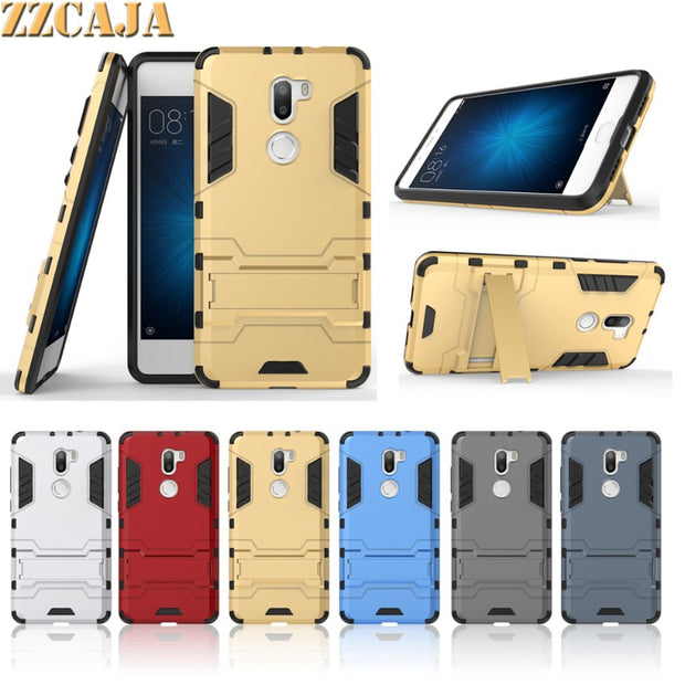 ZZCAJA For Xiaomi Mi 5S Plus Case Silicone Frame + Hard PC Board 2 In 1 Stand Phone Cover Shell For Xiaomi Mi 5S Plus