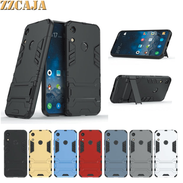 ZZCAJA Shell For Huawei Honor 8A Case Luxury Dual Layer Shockproof Kick Stand Slim Back Phone Cover For Huawei Honor 8A Fundas