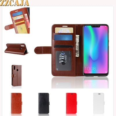 ZZCAJA Shell For Huawei Honor 8C Case Luxury Coque Business Type Leather Bag Wallet Mobile Phone Flip Cover For Honor 8C Fundas