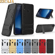 ZZCAJA Shell For Huawei Honor 8C Cases Luxury Dual Layer Shockproof Kick Stand Super Slim Phone Covers For Honor 8C Bag Fundas