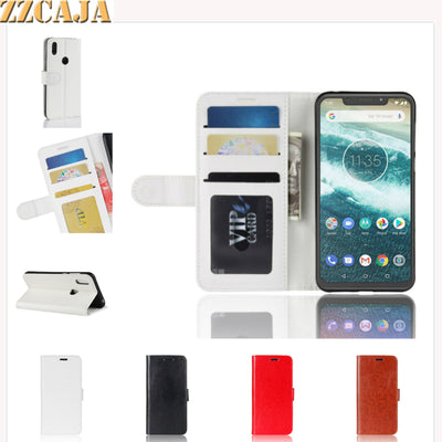 ZZCAJA Shell For Motorola One Power Case Luxury Coque Business Type Leather Bag Wallet Flip Phone Cover For Moto P30 Note Fundas