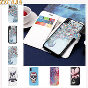 ZZCAJA Shell For IPhone XS Max Case Luxury Cute Flowers Animaks Dog Skull Detachable Leather Wallet Cover For IPhone XR Fundas
