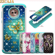 ZZCAJA For Motorola E5 G6 Play Case Hybrid Heavy Duty Shockproof Diamond Studded Bling Rhinestone With Dual Layer Cover Fundas