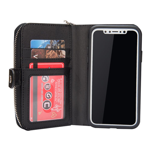 Zipper Multi-Functional 3 Card Slots Detachable Cover For IPhone X XS XR Magnetic Flip Wallet Leather Case For IPhone XS Max